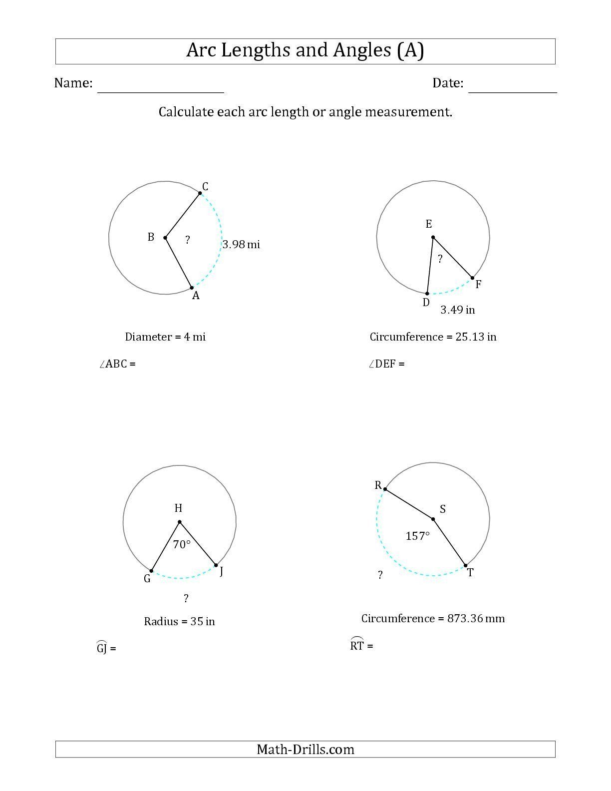 Measuring Angles Worksheet The Calculating Arc Length