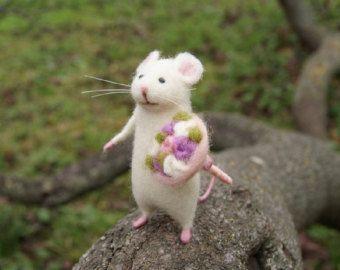 Needle Felted Mouse White Mouse Needle Felted Animal Needle Felt