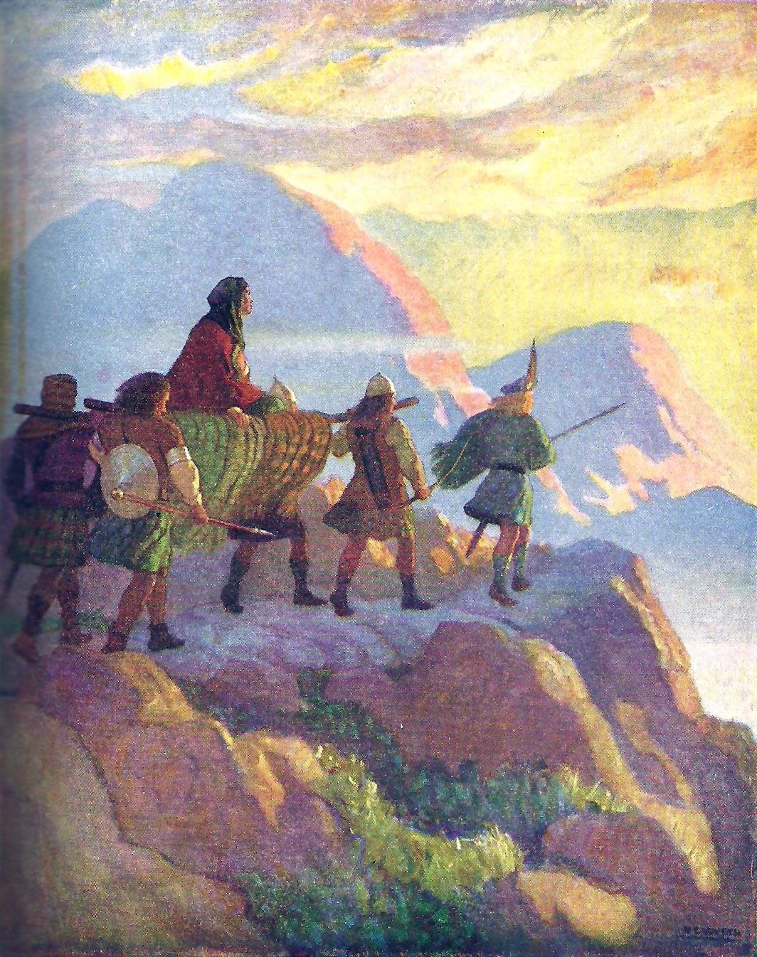 "Helen descends the Glen of Stones: ""The Scottish Chiefs"" by Jane Porter / Illustrated by N.C. Wyeth  (Scribner, 1941)"