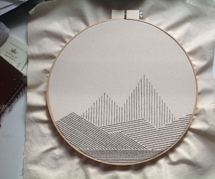 Big Geometric Mountain Embroidery #embrodery