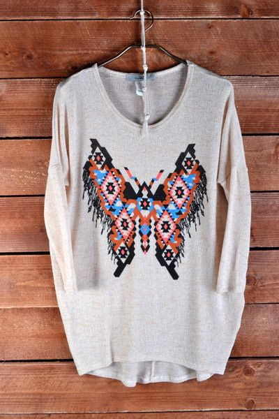 Aztec Butterfly Tunic Top