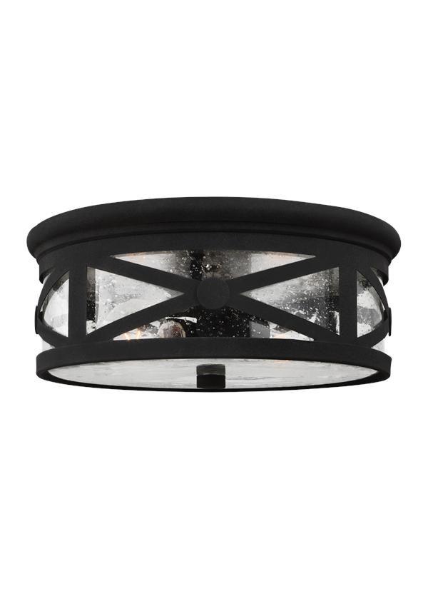 7821402-12,Two Light Outdoor Ceiling Flush Mount,Black