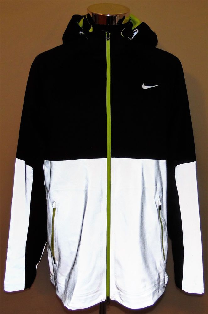 c9c10c863186 Nike Shield Flash Storm Black Volt Reflective Hood Running Jacket 3M Wm Size  XL  Nike  CoatsJackets