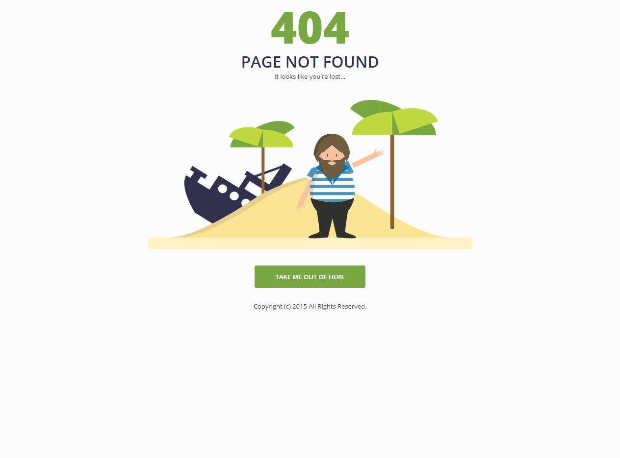 Shipwrecked - Premium Responsive 404 Page HTML5 Template