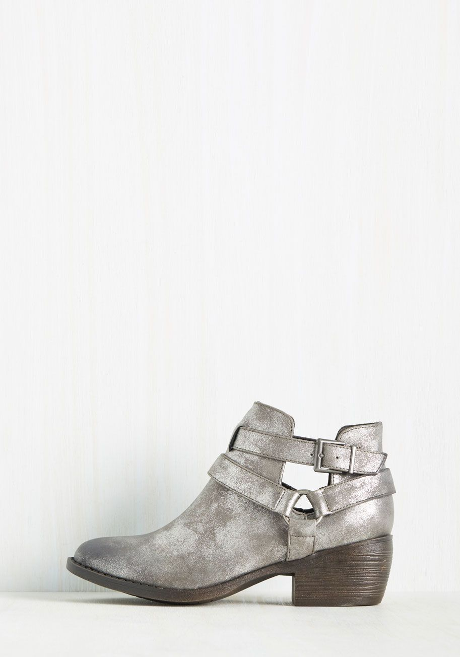 Skip a Beat Bootie in Pewter. By strolling around town in these metallic silver booties from BC Footwear, youre perfectly outfitted for a…