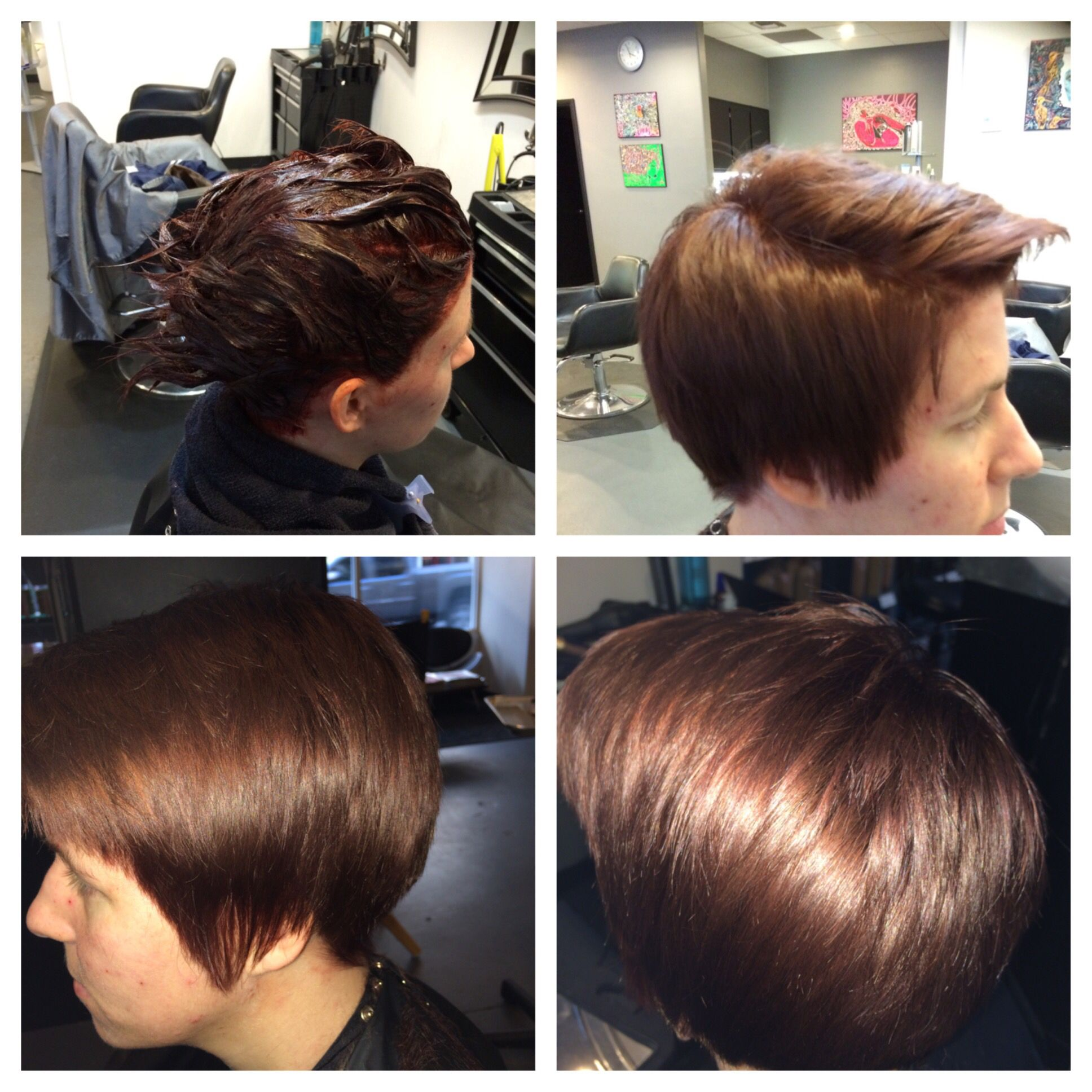 All over color and cut i did reddish brown and cleaned up her pixie