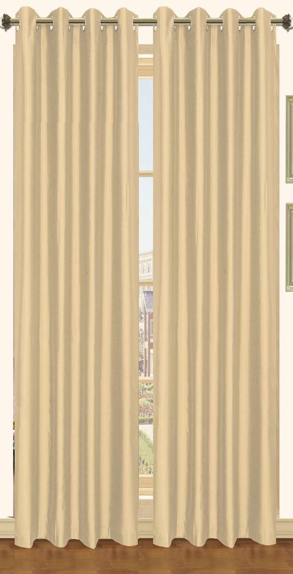 "Holly Faux Silk Grommet Window Panel 57 x 90"" - 2 PACK"