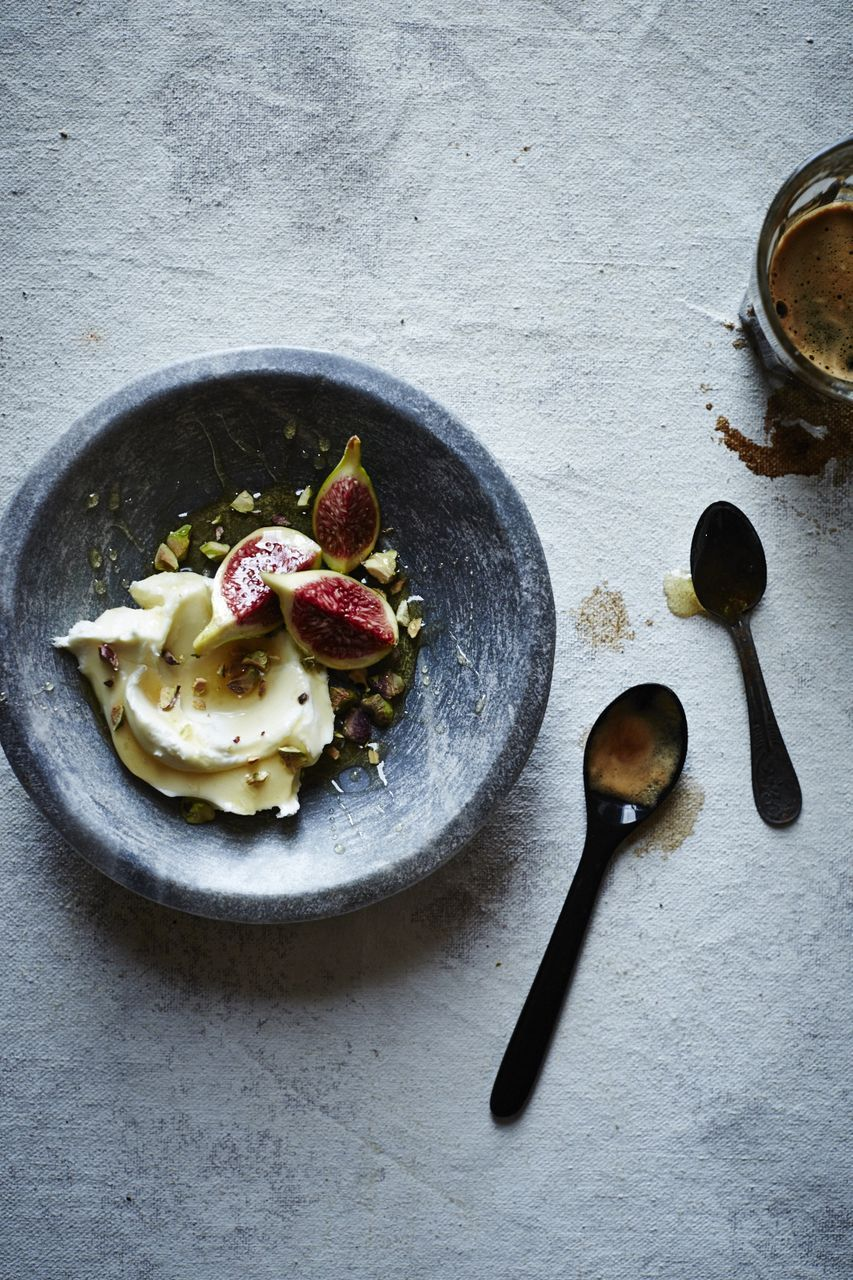 figs and mascarpone cheese with honey and pistachios.  Photo: Iain Bagwell Food Styling: Katelyn Hardwick Prop Styling: Ginny Branch