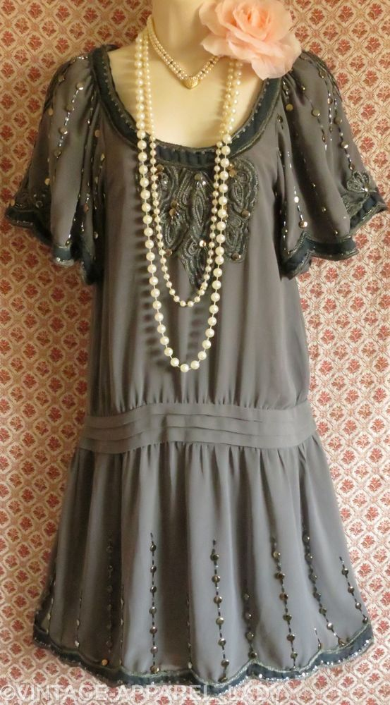 99e8acd65b70 BNWT Oasis 1920's Grey Flapper Deco Dress Beads Studs Sequins Vintage Size  8 #OASIS #20s #Party