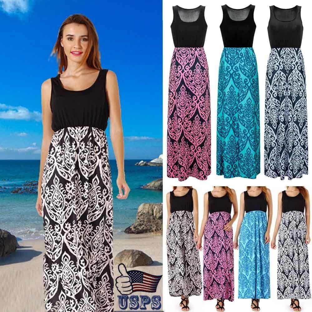 Womens Holiday Sleeveless Ladies Maxi Long Summer Print Beach Dress Plus Size Us Printed Beach Dresses Plus Size Dresses Uk Plus Size Maxi Dresses [ 1000 x 1000 Pixel ]