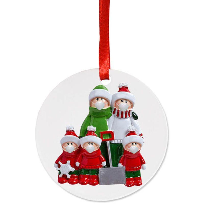 Happyshopping - Masque facial bonhomme de neige pendentif suspendu arbre de Noel, serie de pelle ronde (5 tetes humaines)