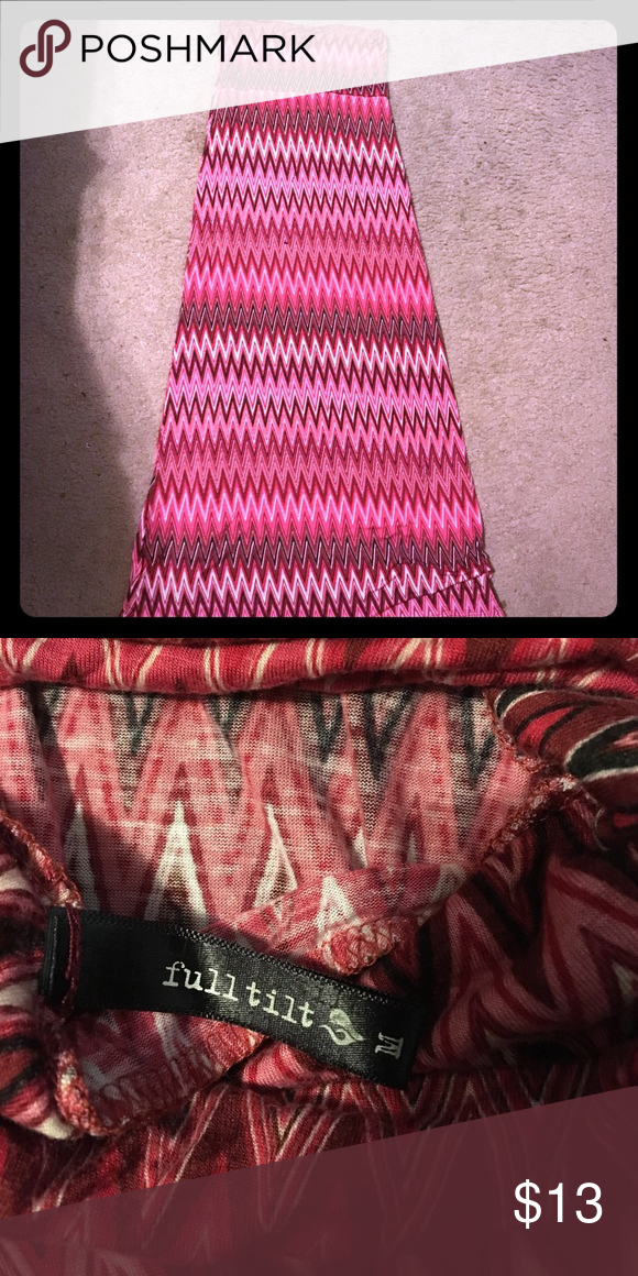 Chevron Maxi skirt Pink black and white maxi skirt from Tilly's. Worn once or twice. Great condition! Willing to negotiate!! Full Tilt Bottoms Skirts