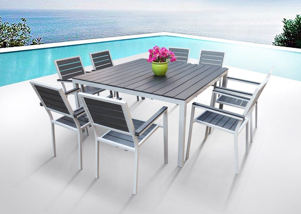 Torino 9 Piece Square Dining Set Patio Furniture Table Wrought