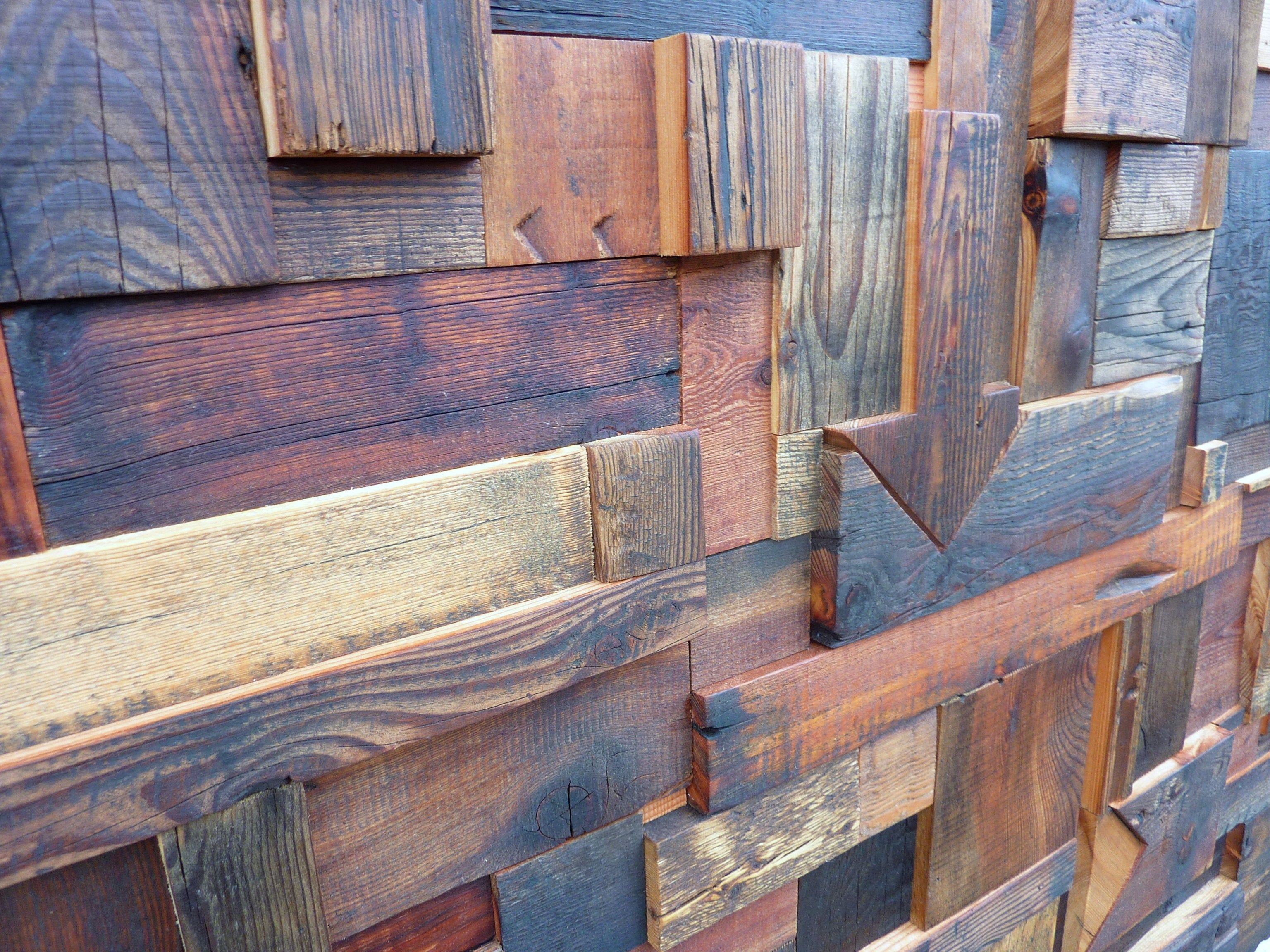 D coration murale composition abstraite en vieux bois for Decoration murale bois sculpte
