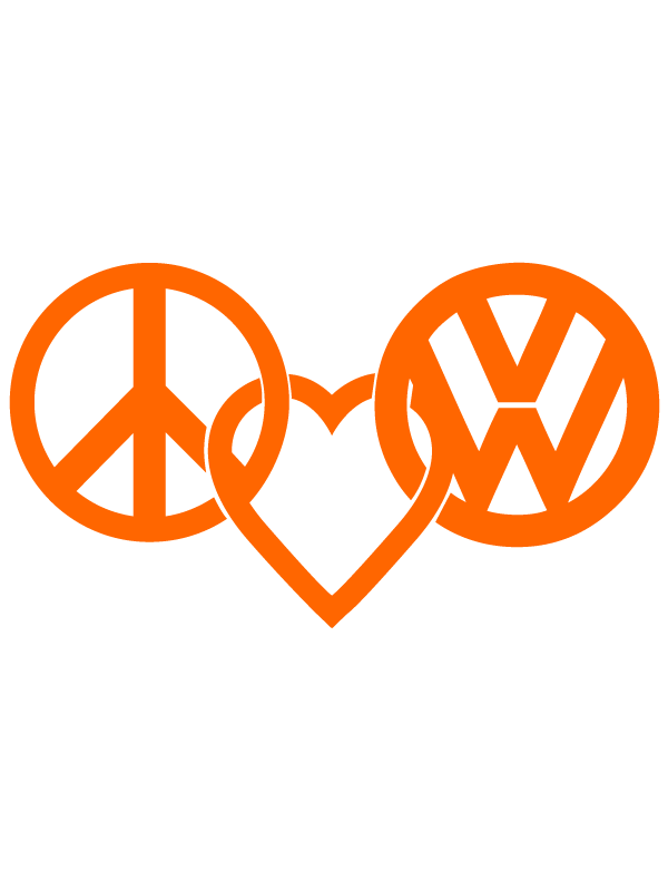 Peace Love Vw Logo Decal Sticker Vw Art Car Wall Art Peace And Love