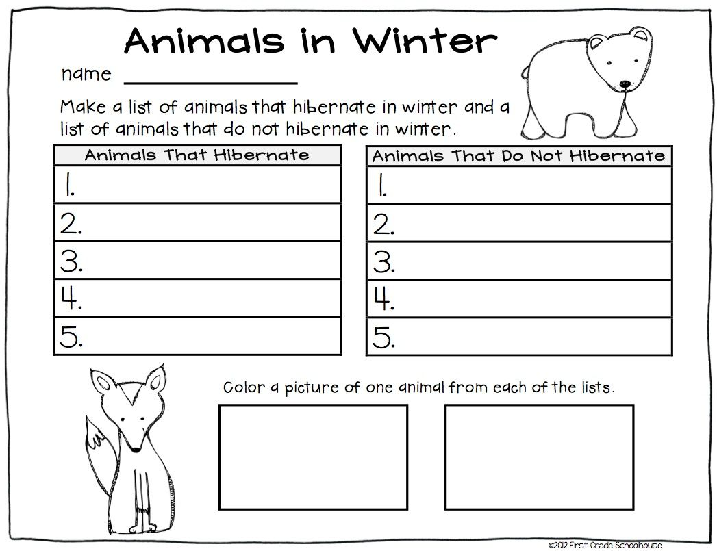 Winter Writing First Grade