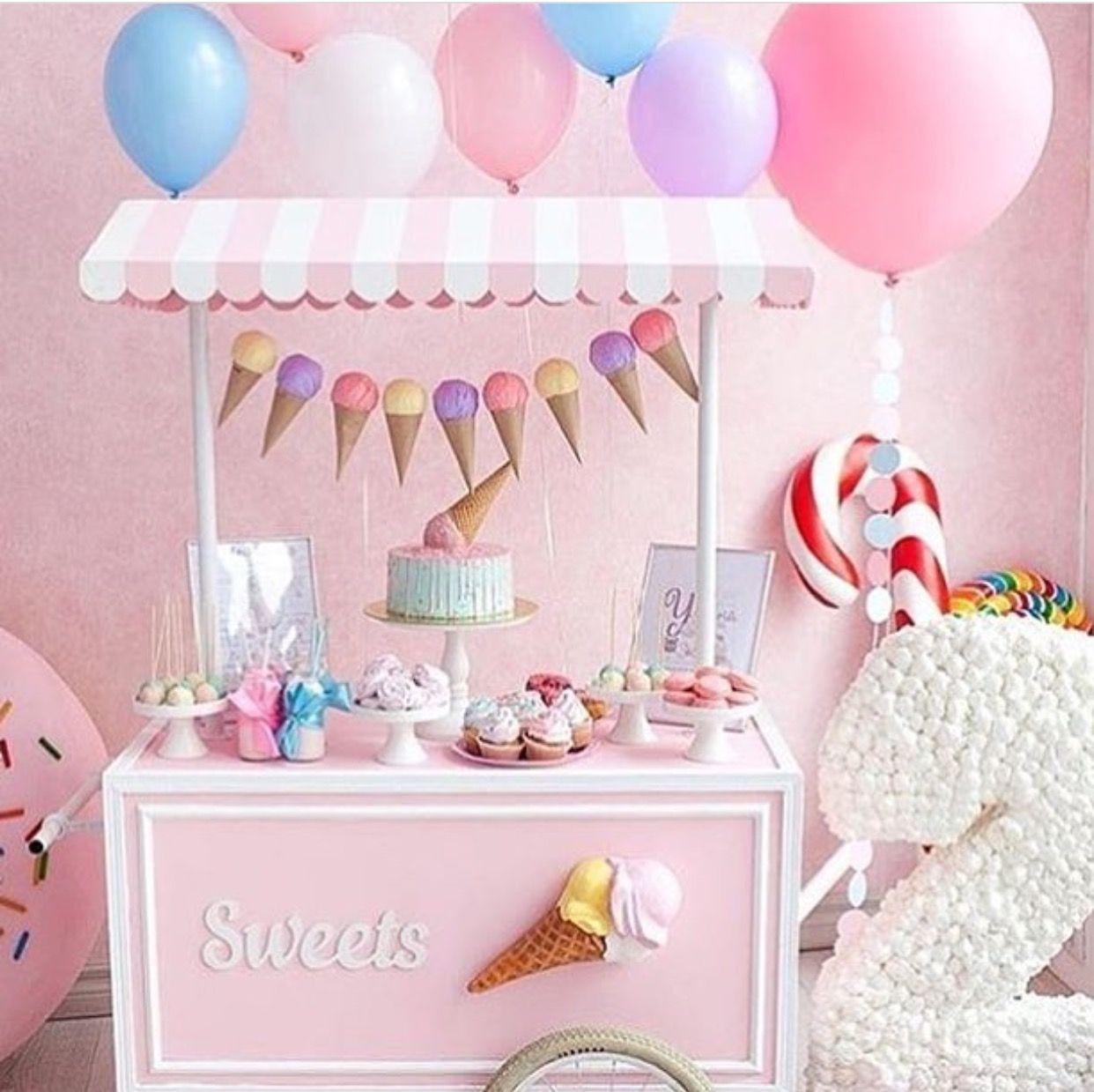 Carrito De Dulces Para Fiesta De Dulces Y Helados Winter Wonderland Birthday Party Birthday Party Themes 2 Year Old Birthday Party