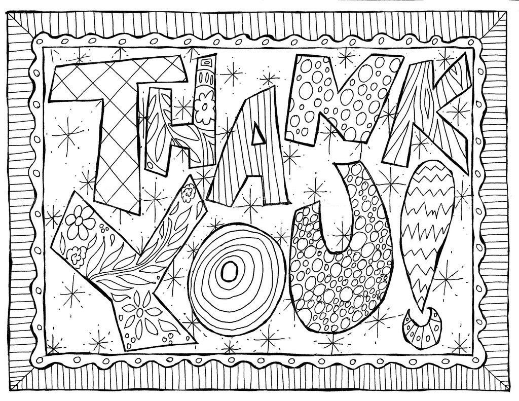 Printable Thank You Page Coloring Pages Doodle Coloring