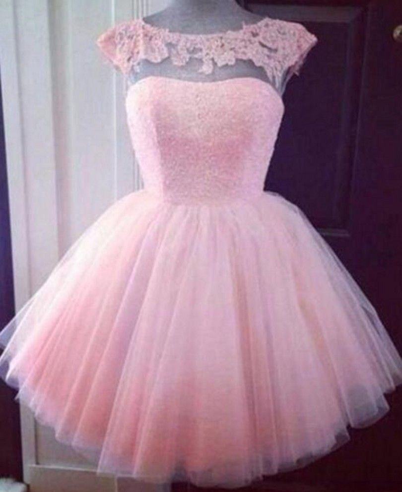 ANTI Pink Homecoming Dresses Tulle Appliques Cute 8th Grade ...