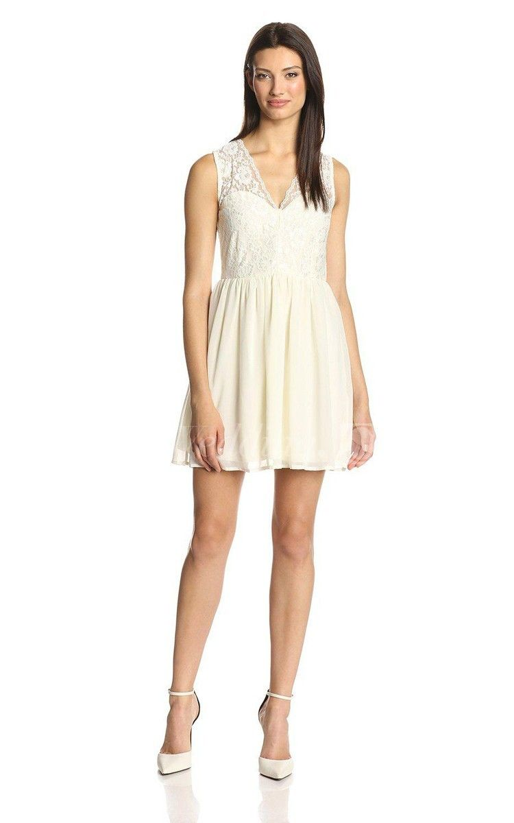Sleeveless vneck short dress short graduation dress college