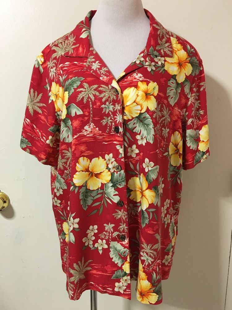a5b53d0c Mens Red Jamaica Bay Floral Button Front Hawaiian Shirt 1X #JamaicaBay # Hawaiian #Caribbean #Tropical