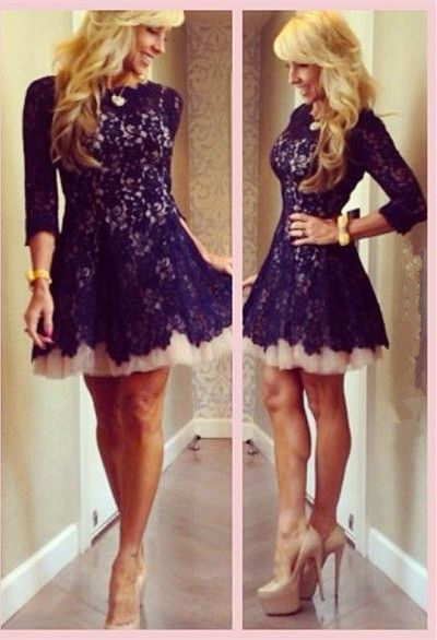 2017 New Arrival Cocktail Dresses Jewel Full Lace A-line Short Length Long Sleeves Party Dresses,409