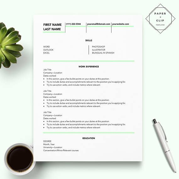 Creative Resume Template For Word  Cv Template   Page Resume