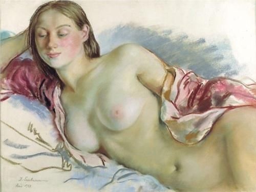 Reclining Nude with cherry mantle - Zinaida Serebriakova