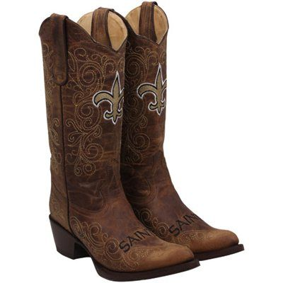 1720971b195 New Orleans Saints Womens Flyover Pull-Up Cowboy Boots - Brown ...