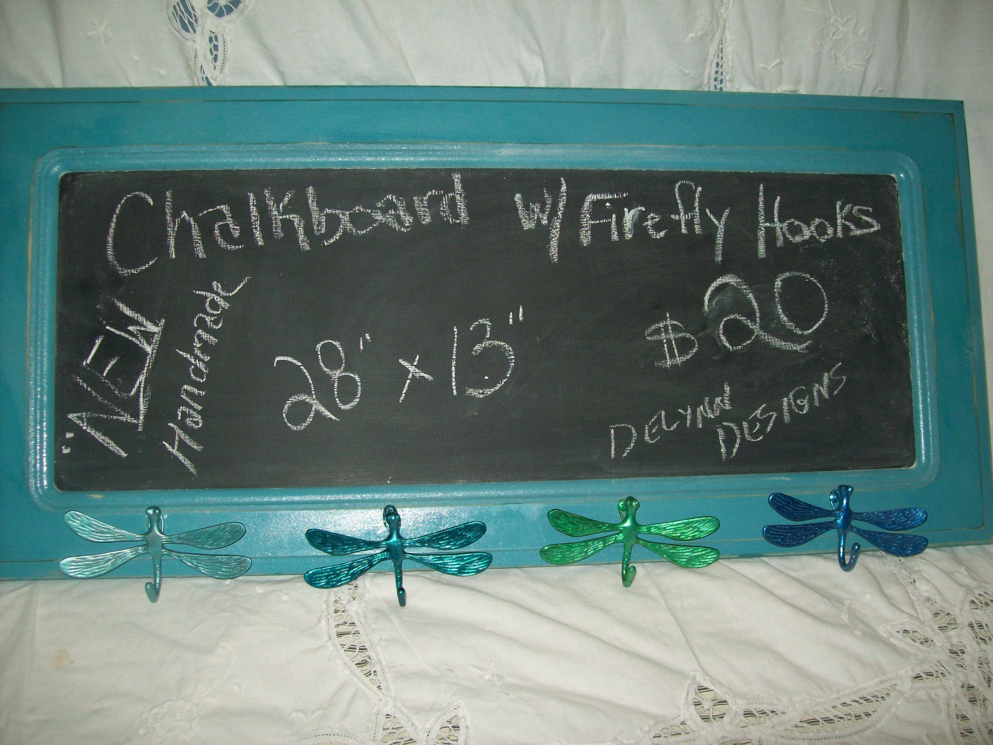 """Chalkboard w/4 metal firefly hooks on bottom-Measures 28"""" x 13 ..."""