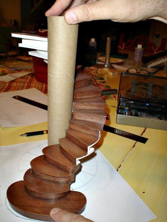 Miniature Endeavors: Planning a Miniature Spiral Staircase #dollsdollsdolls