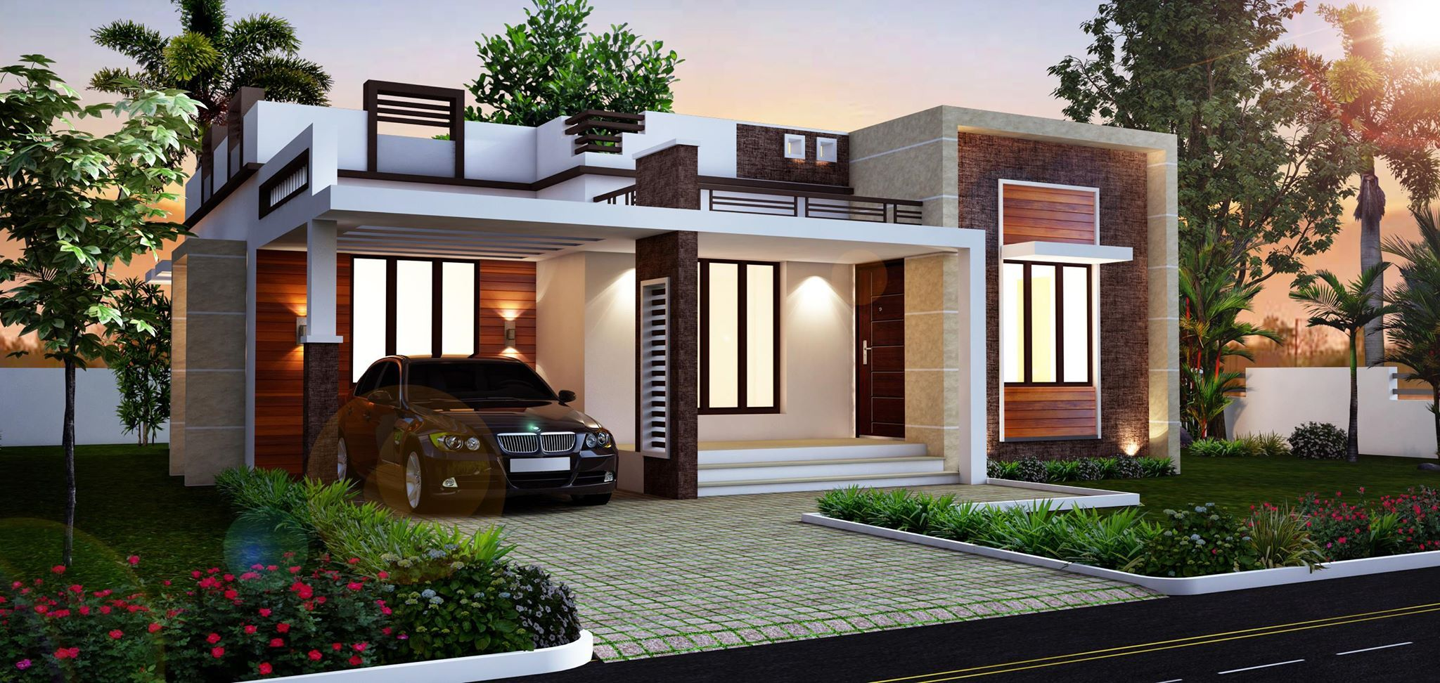 Beautiful models of houses yahoo image search results for Small indian house plans modern