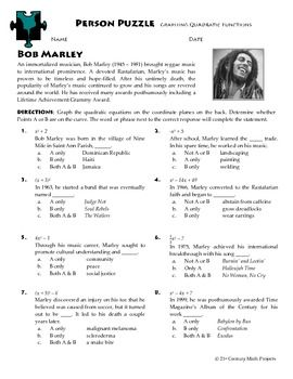 Person Puzzle - Graphing Quadratic Functions - Bob Marley