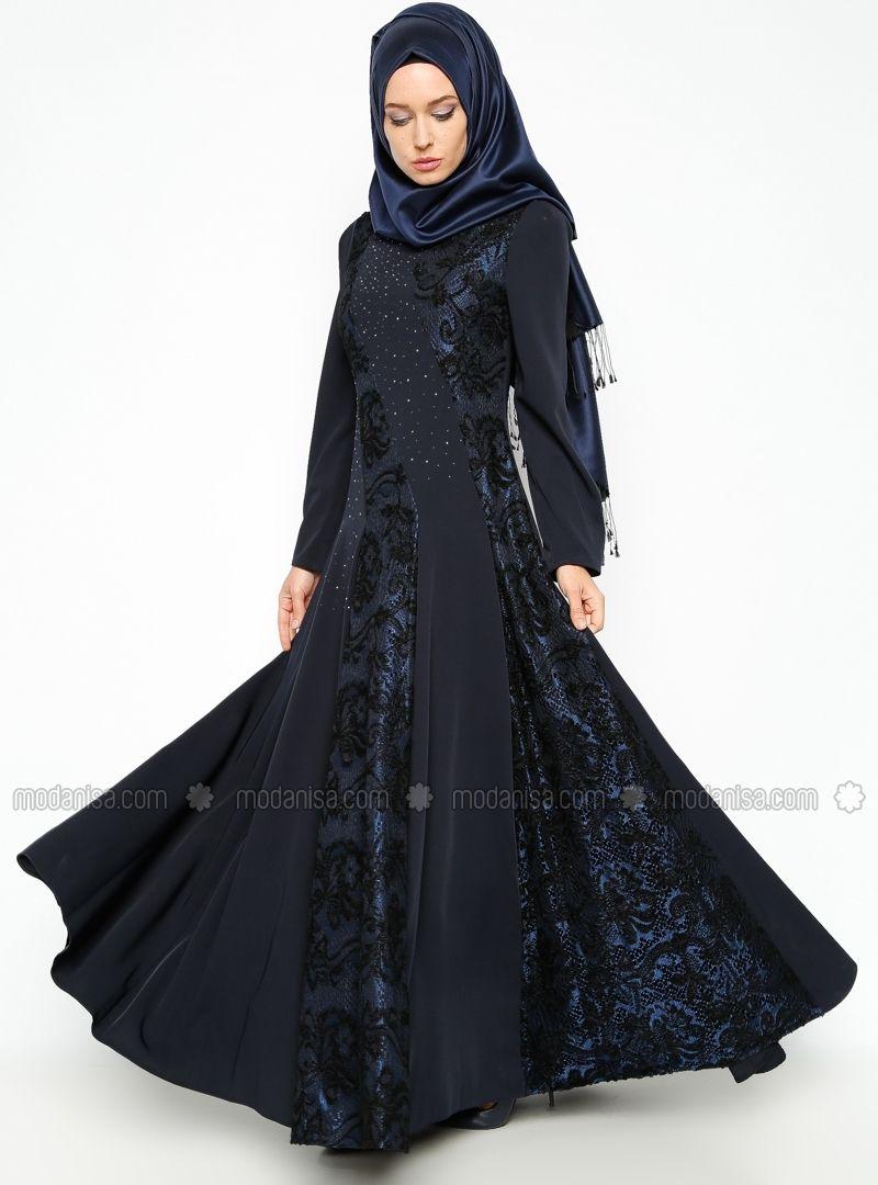 Drop printed evening dress navy blue esswaap arti pinterest