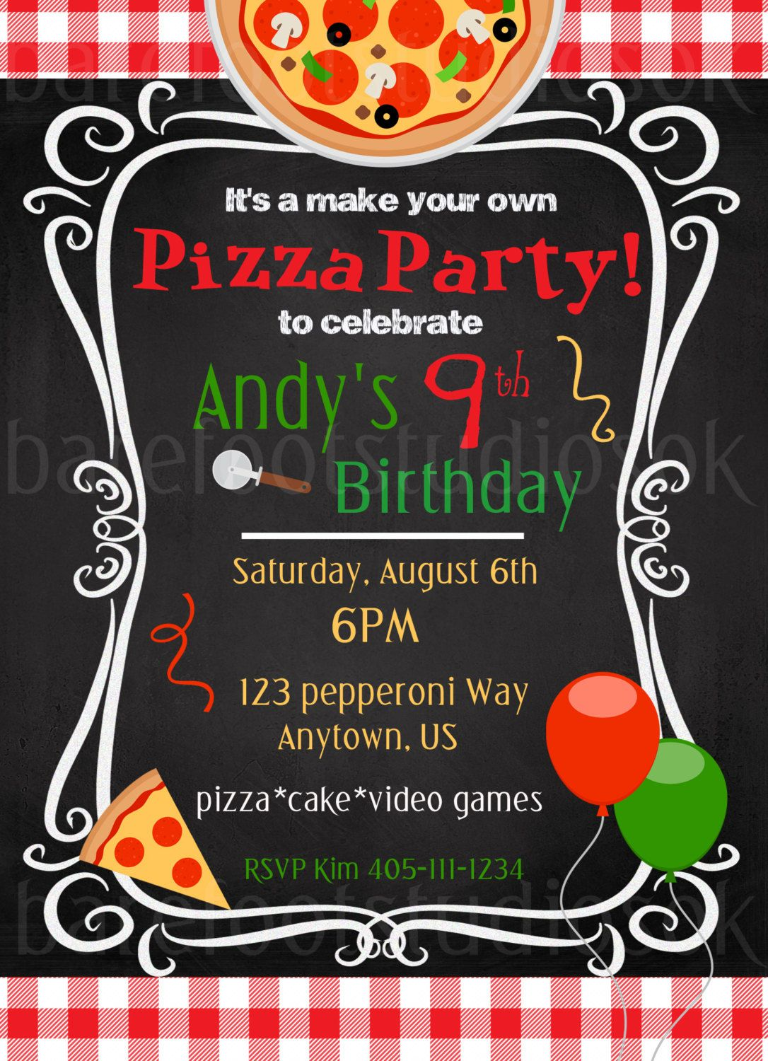 Pizza Party Invitation Pizza Party Printable Birthday Inviation – Make Your Own Pizza Party Invitations