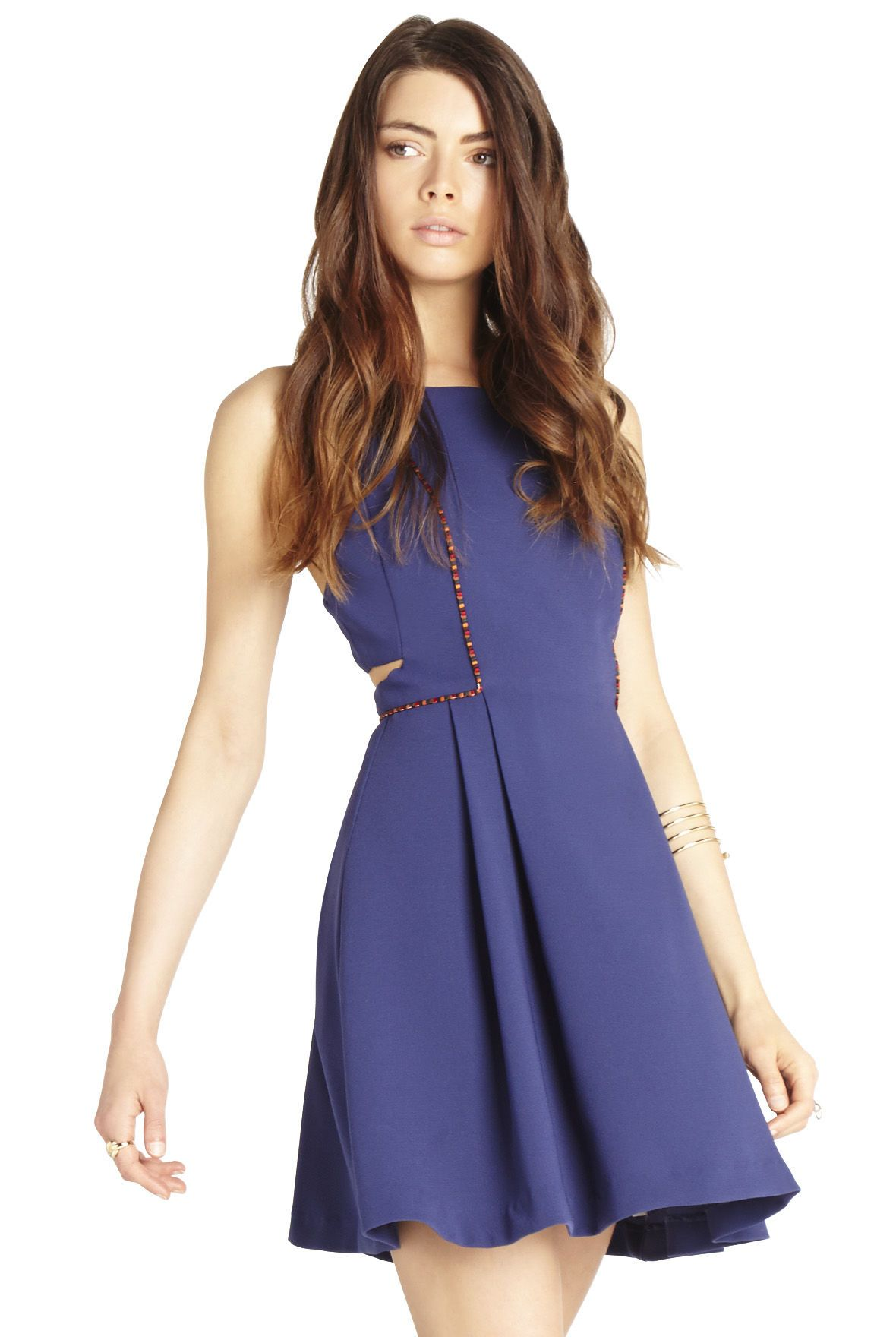 Side-Cut Embroidered-Trim Dress