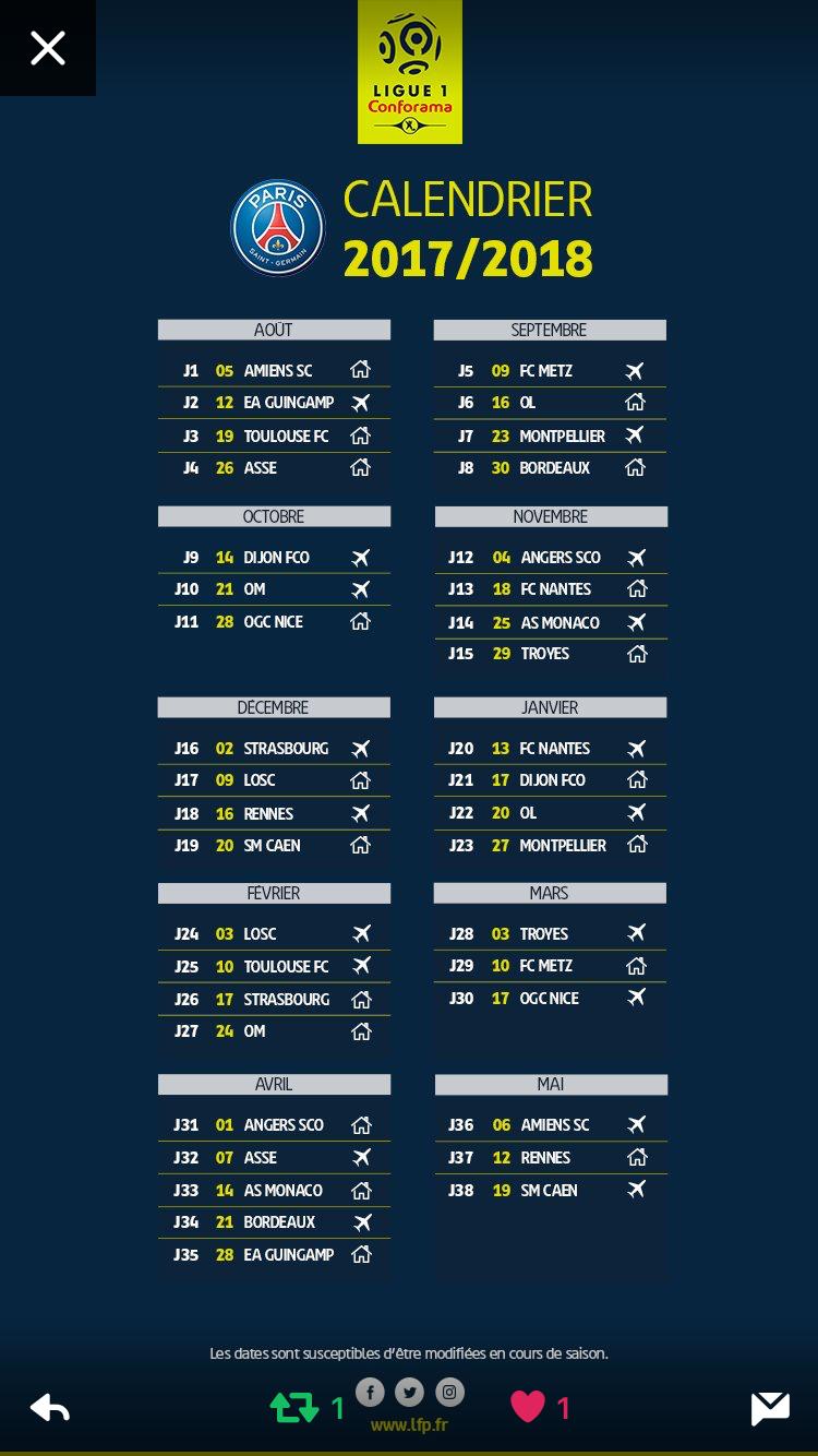 Calendrier Ligue 1 Conforama Saison 2017 2018 Du Paris Saint Germain Calendar Schedule French Ligue 1 Conforama 2017 2018 Season Of Paris Saint Germain Psg