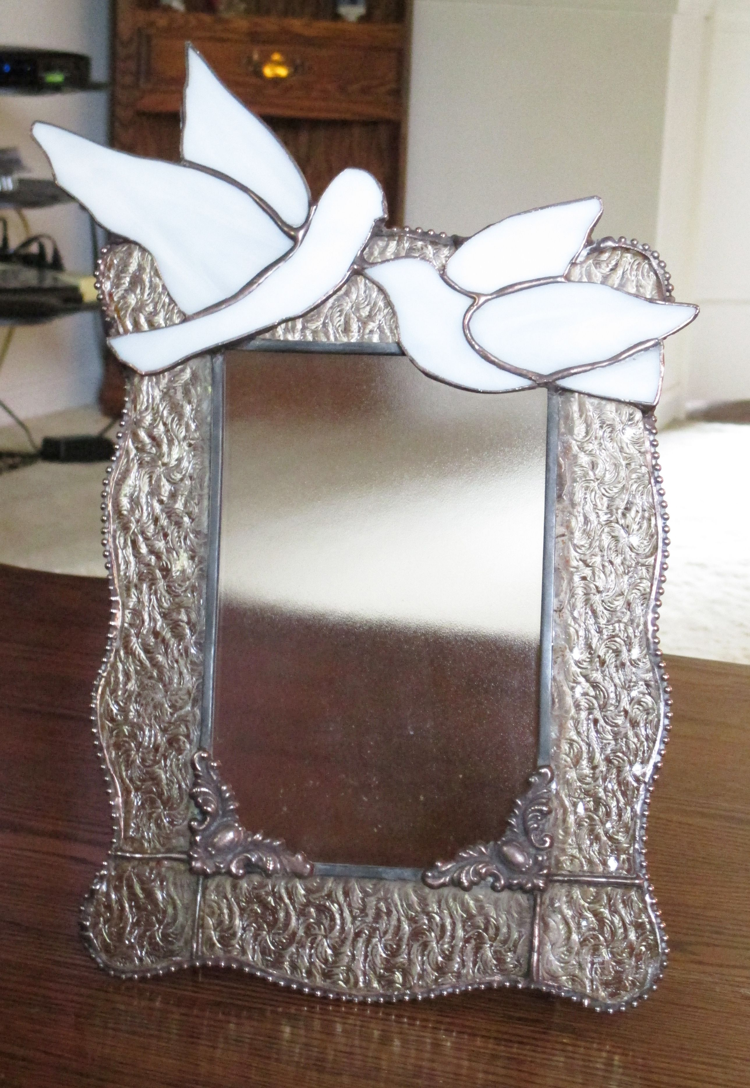 stained glass wedding picture frame with clear granite glass