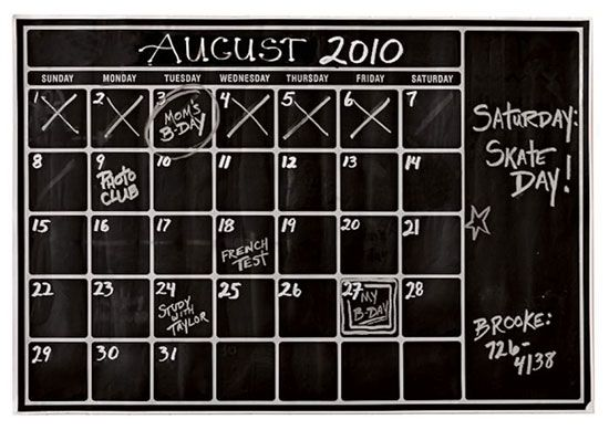 I want to make a chalkboard calendar for the boys room, for Logan to