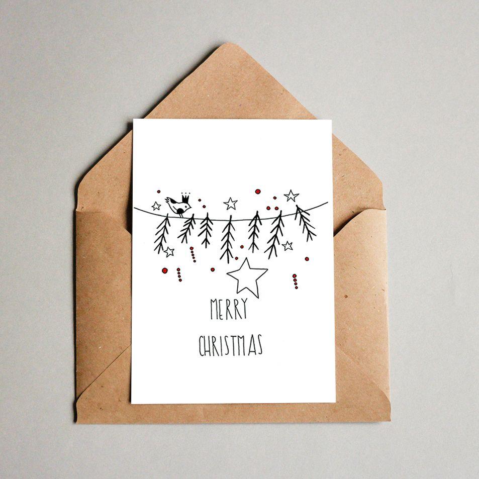Printable Christmas Card・Queen Bird・