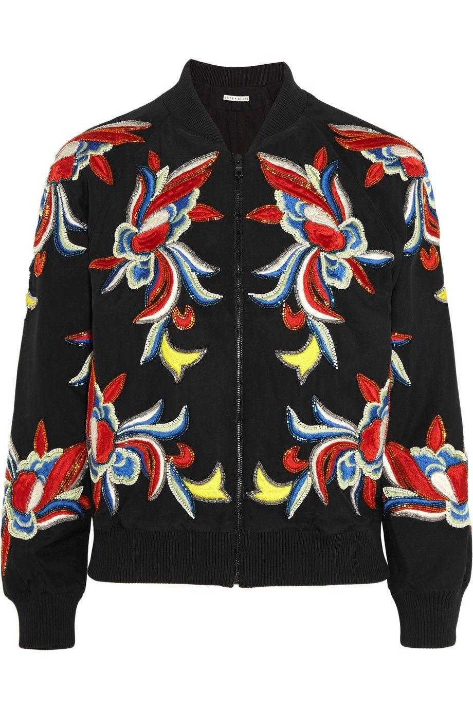 Alice + Olivia   Felisa embellished embroidered silk bomber jacket   NET-A-PORTER.COM