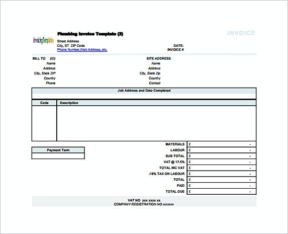 Plumbing Contractor Receipt Free , Proforma Invoice Template and - plumbing receipt