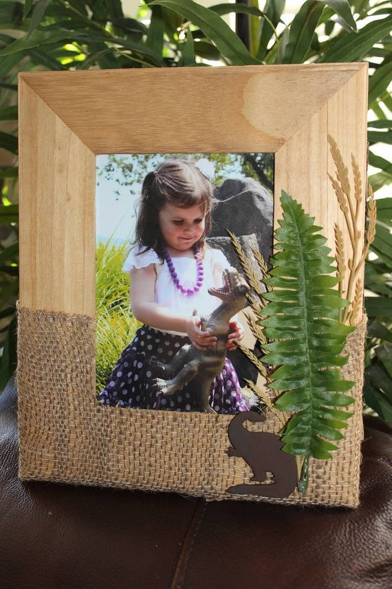 Wood and Burlap Dinosaur Picture Frame Holds by DetailsandAccents, $18.00