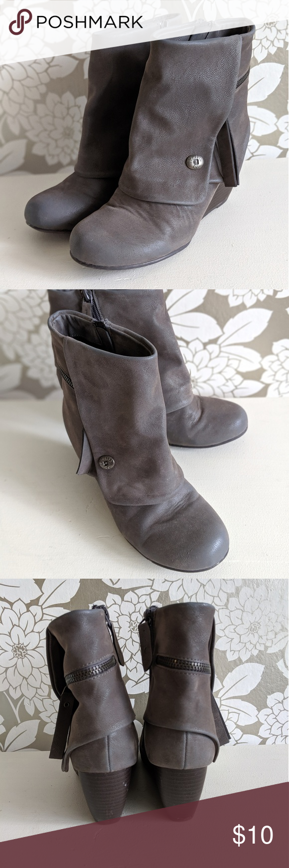 Blowfish Ankle Boots Grey ankle boots with zipper closure, soft faux suede material, good used condition with white scuffs noted to left heel as shown, very comfortable and cute with skinny jeans or leggings Blowfish Shoes Ankle Boots & Booties #skinnyjeansandankleboots