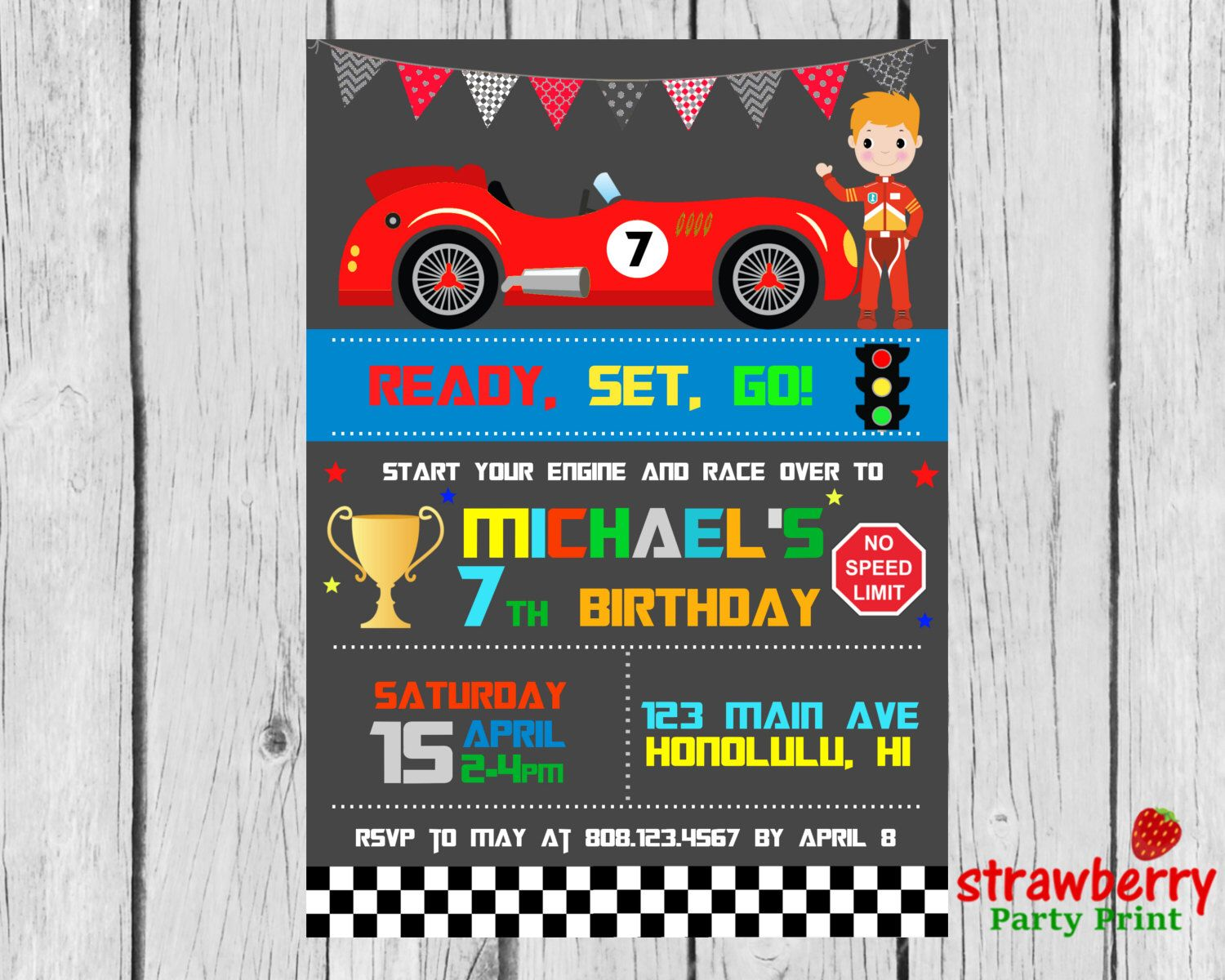 Racing Car Birthday Invitation, F1 Race Car, Formula 1 Boy Birthday ...