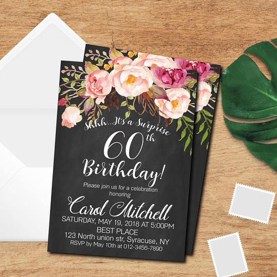 60th birthday invitation Woman Birthday party Invitation Adult - best of birthday invitation card write up