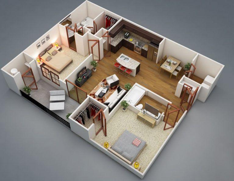 5 planos de departamentos en 3d home decor planos de for Departamentos en planos