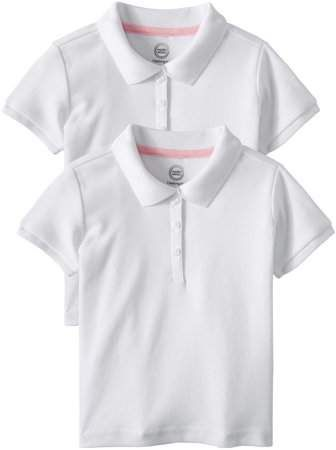 df727cb71 Wonder Nation Toddler Girls School Uniform Short Sleeve Interlock Polo,  2-Pack Value Bundle