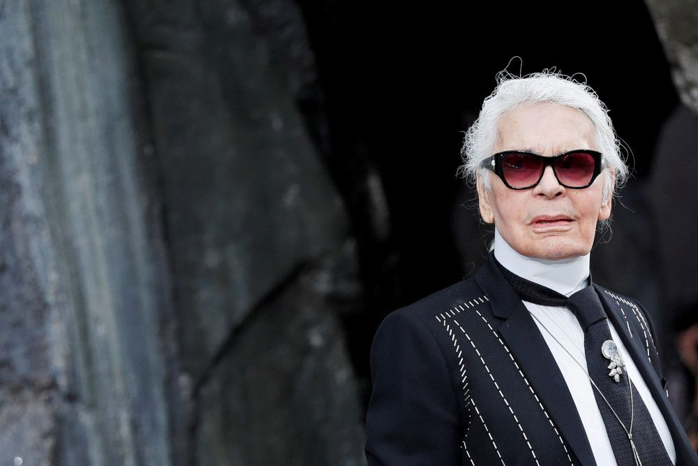 German designer karl lagerfeld appears at the end of his