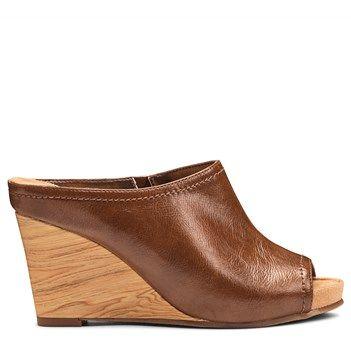 A2 by Aerosoles Women's Plushed Metal Wedge Mule Shoes (Dark Tan)